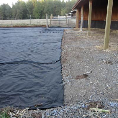woven geotextile on construction site